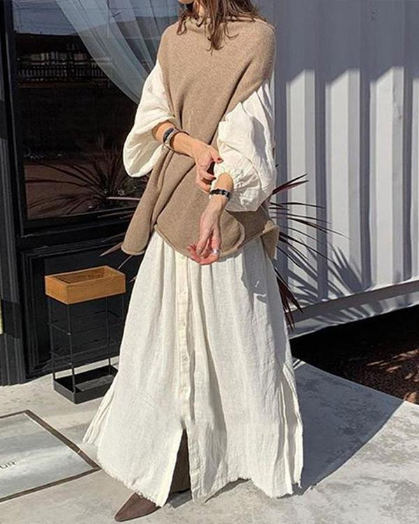 Casual Solid Shirt Shift Dress And Loose Knitted Sweater Set