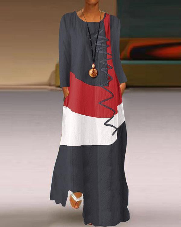 Color-block Graffiti Printed Casual Long Sleeve Maxi Dress
