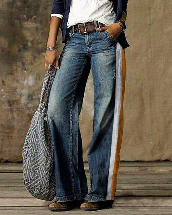 Vintage Striped Pocket Denim Loose Jeans Pants