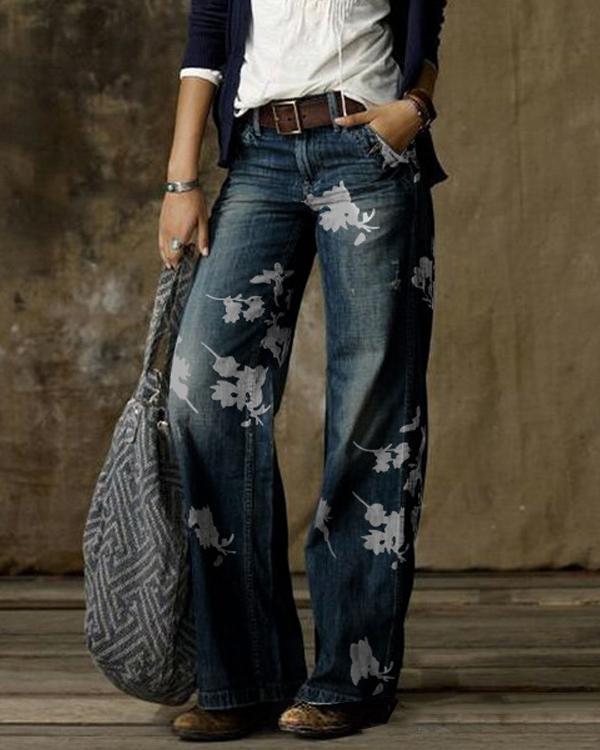 Vintage Floral Print Pocket Woman Pant Bottom