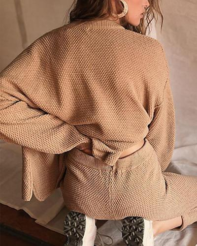 Vintage V-neck Button Sweater&Pants Set Casual Suit