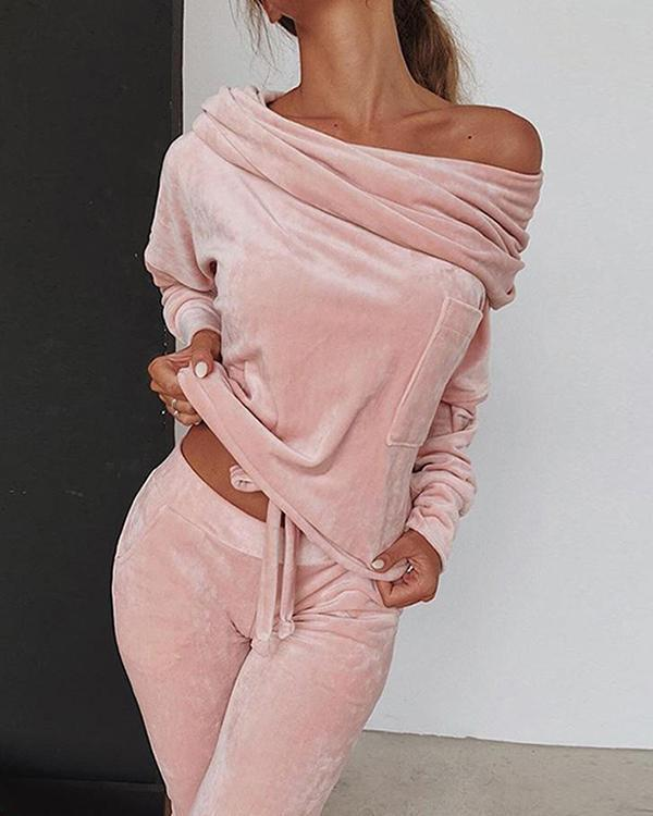 Lace-Up Casual Plain Pants Pullover Women's Two Piece Sets
