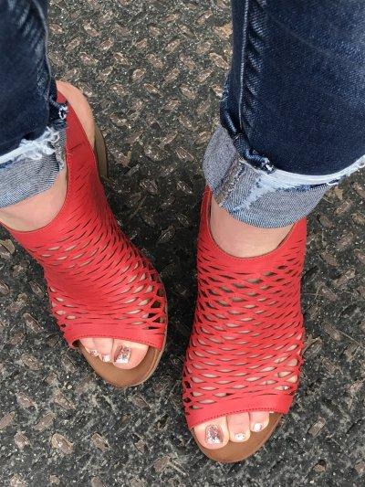 **Ladies' Soft Leather Wedge Heel Sandals
