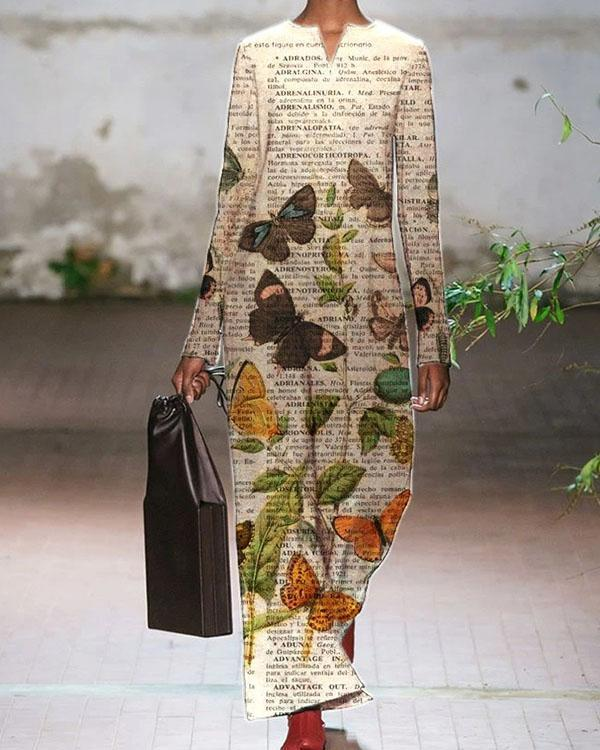 Elegant Fashion Letter&Butterfly Print Autumn Maxi Dress