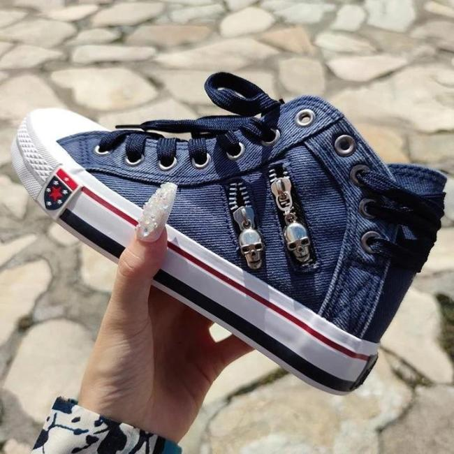 Denim Skull Punk High-top Canvas Sneakers