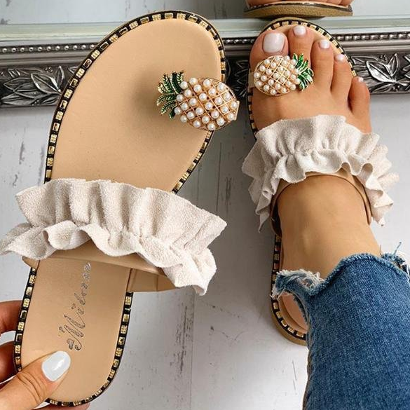 Woman Pineapple Rhinestone Ruffles Flat Heel Slipper Slide Sandals