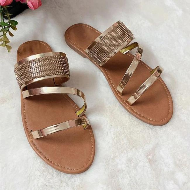 Women Simple Fashion Pu Rhinestone Slip On Sandals Slippers