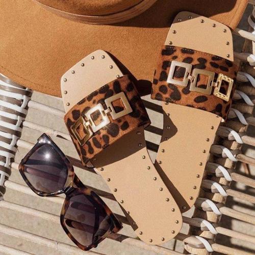 Women Fashion Pu Metal Button Print Sandbeach Sandals Slippers