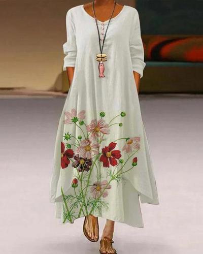 Maxi Dress Round Neckline A-Line Asymmetrical Long Sleeves