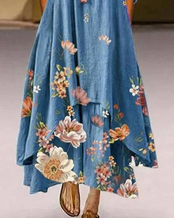 Floral Long Sleeve Crew Neck Casual Maxi Dresses