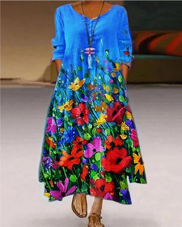 Women Casual Printed Floral Crew Neck 3/4 Sleeve Maxi Dresses