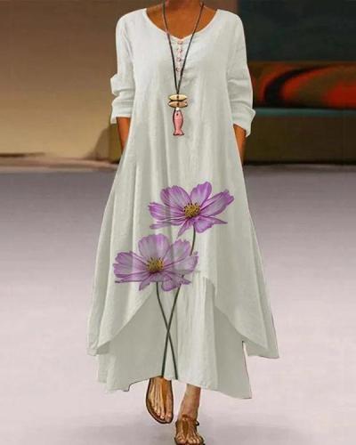 Long Sleeve Casual Asymmetric Maxi Dresses