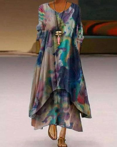 Asymmetric A-Line Casual Crew Neck Tie Dye Maxi Dresses