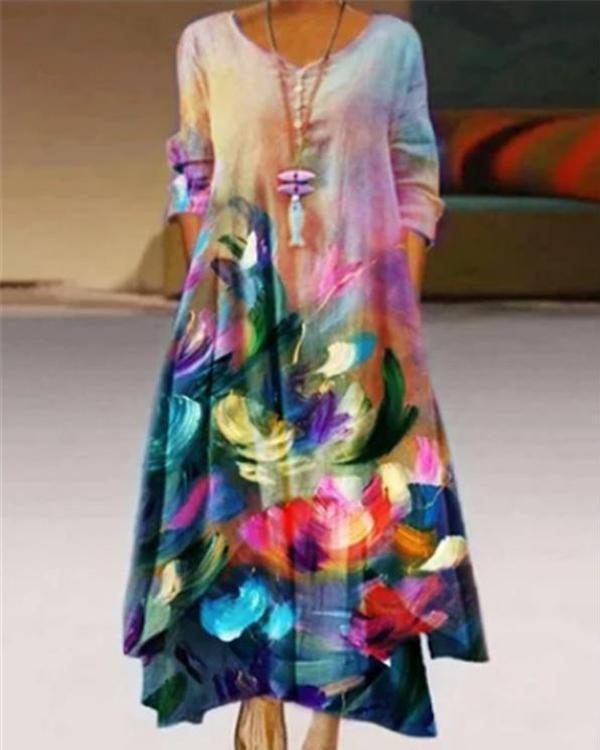 Women Casual Printed Crew Neck 3/4 Sleeve Dresses