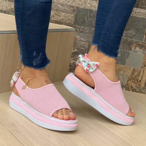 Women's Comfy Bow Platform Peep-toe Knit Sandals