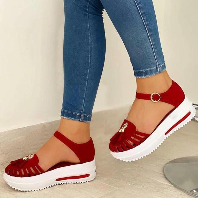 Women Comfy Platform Soft Sole Fabric Hollow-out Tassels Sandals