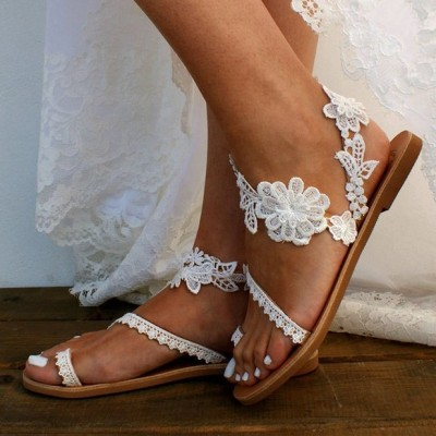 Woman Summer Lace Slip-On Flat Sandals
