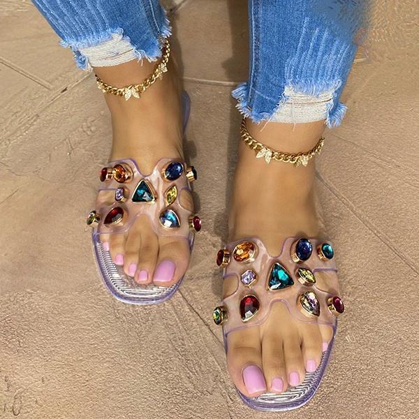 Fashion Western Gemstone Flat Slippers