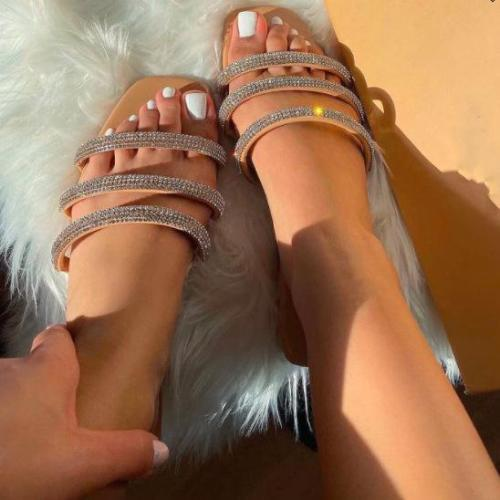 Fashion Diamond Flat Slippers