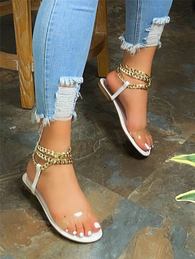 NEW! Women's Spring Metal Chain Slippers