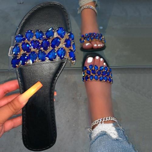 Women rhinestone flat heel sandals