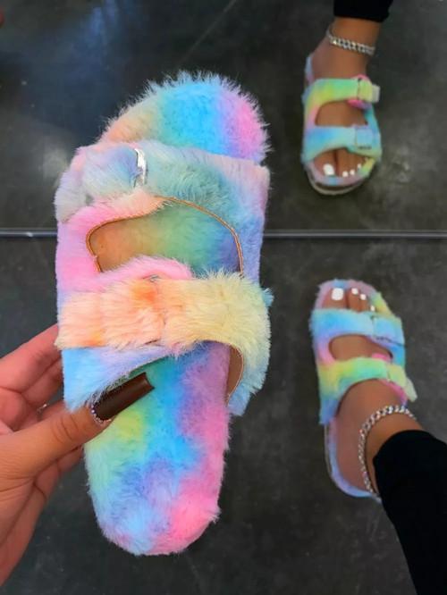 Candy color casual flat heel flip flops sandals