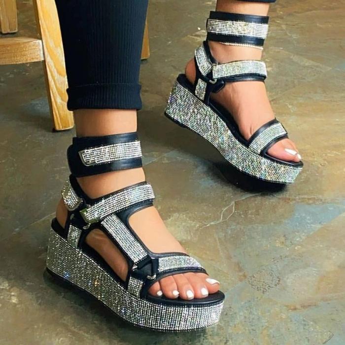 Women Blingbling Rhinestones Velcro Open Toe Muffin Strapes Sandles Sandals