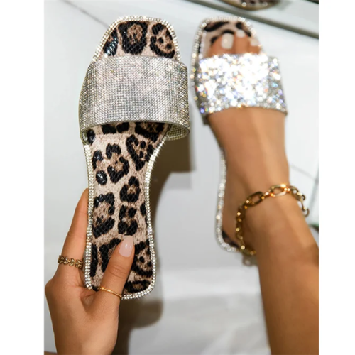 Rhinestone Flat With Flip Flop Slip-On Casual Summer Slippers