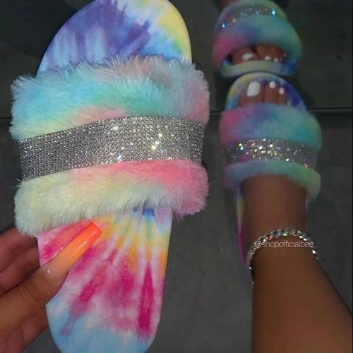 Fuzzy Rhinestones Women's Slippers