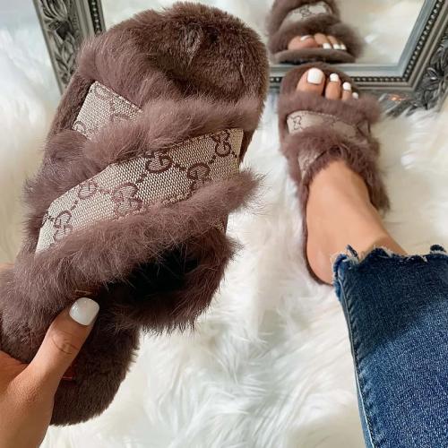 Fashion Plush Flower Print Slippers Sandals