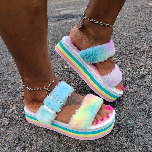 Casual Bowknot Fur Sandals