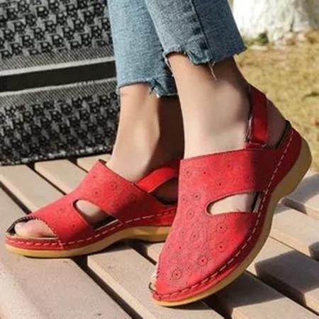 Women's Flower Slingbacks Nubuck Wedge Heel Sandals