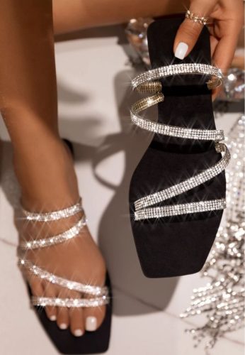 Fashion Rhinestone Flat Bottom Colorful Thin Belt Slippers