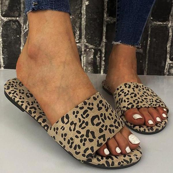 Spotted Cloth Printed Flat Slippers