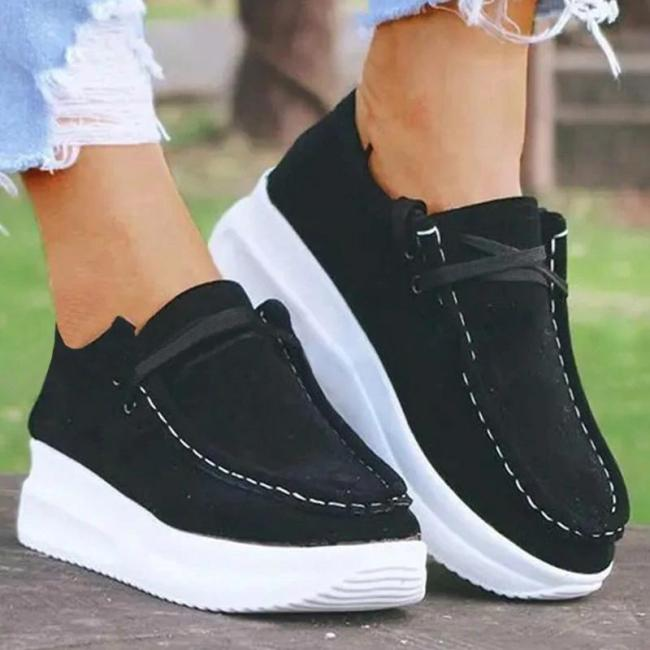 Women Casual Comfy Shearling Pure Color Lace-up Platform Loafers