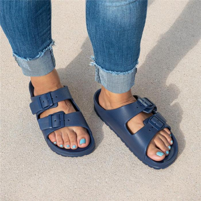 Multi-colored Double Buckle Foam Sandals