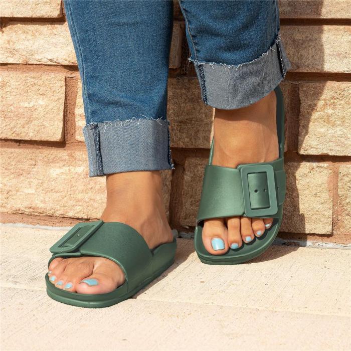 Multi-colored Buckle Slide Sandals
