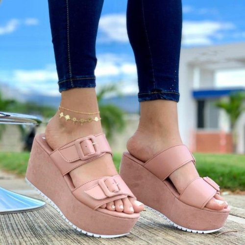 Women's Comfy Buckle Straps Platform Soft Sole Slippers