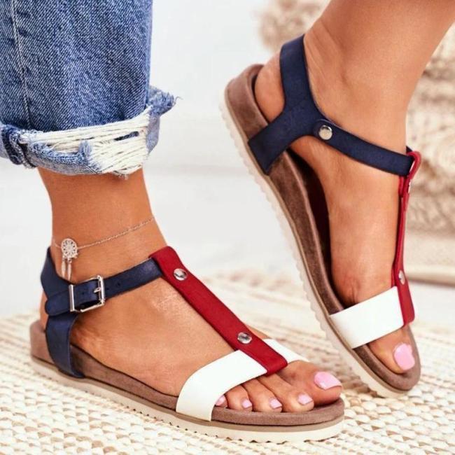 Women Simple Elegant Pu Color-Blocking Adjusting Buckle Flat Sandals