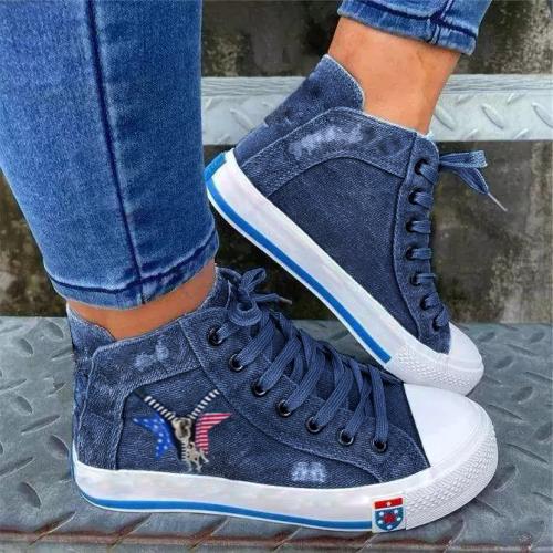 Women Casual Comfortable Denim Zipper Decoration Lace-up Sneakers