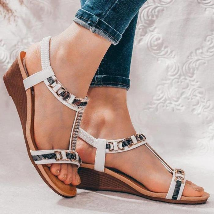 Women Simple Elegant Pu Rhinestone Chain Elastic Band Wedge Heel Sandals