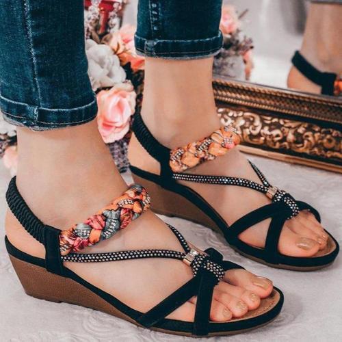 Women Simple Elegant Pu Rhinestone Elastic Band Wedge Heel Sandals
