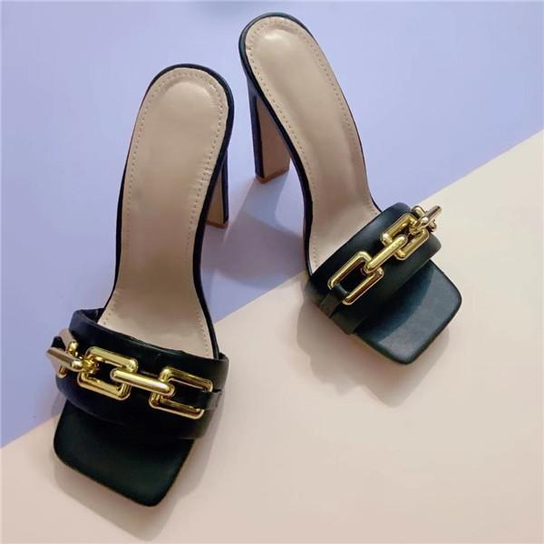 Metal Button High Heel Slippers