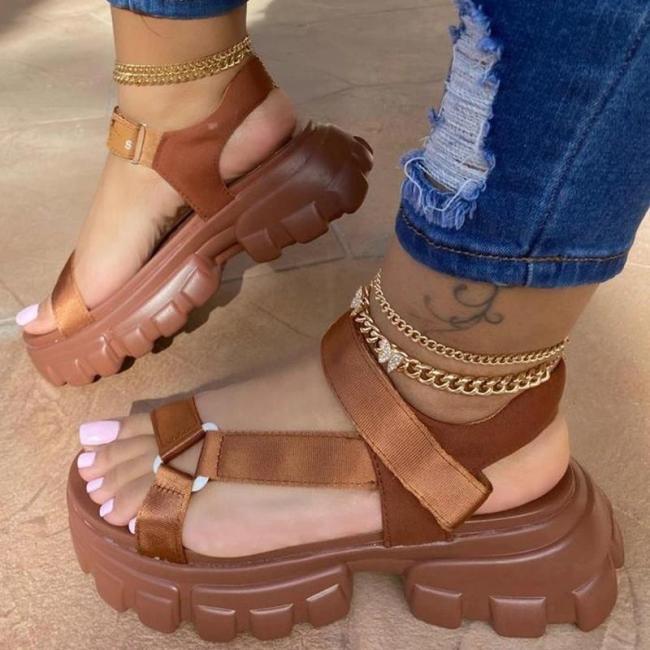 Women Casual Fashion Cloth Hook-Loop Magic Tape Platform Sandals