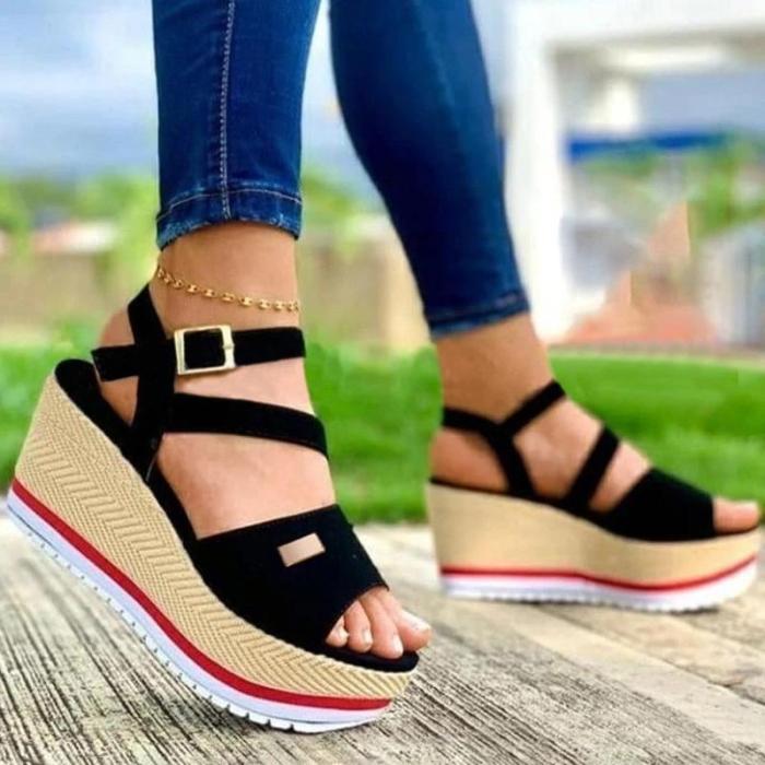 Women Casual Simple Pu Open Toe Adjusting Buckle Platform Wedge Heel Sandals