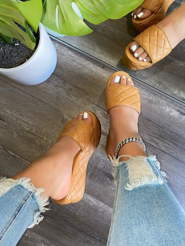 Women Stylish Platform Wedge Quilted Leatherette Slide Sandals
