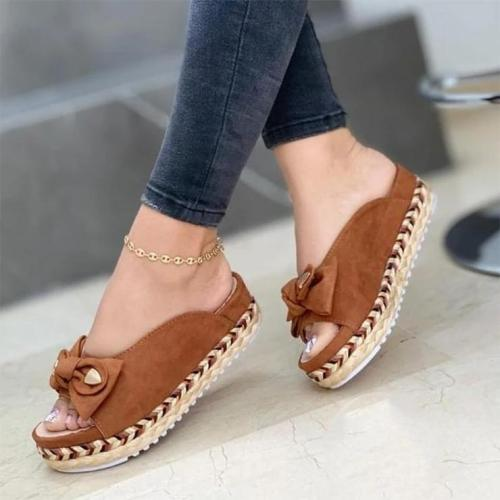 Women's Fashion Thick-Soled Hand-Woven Slippers