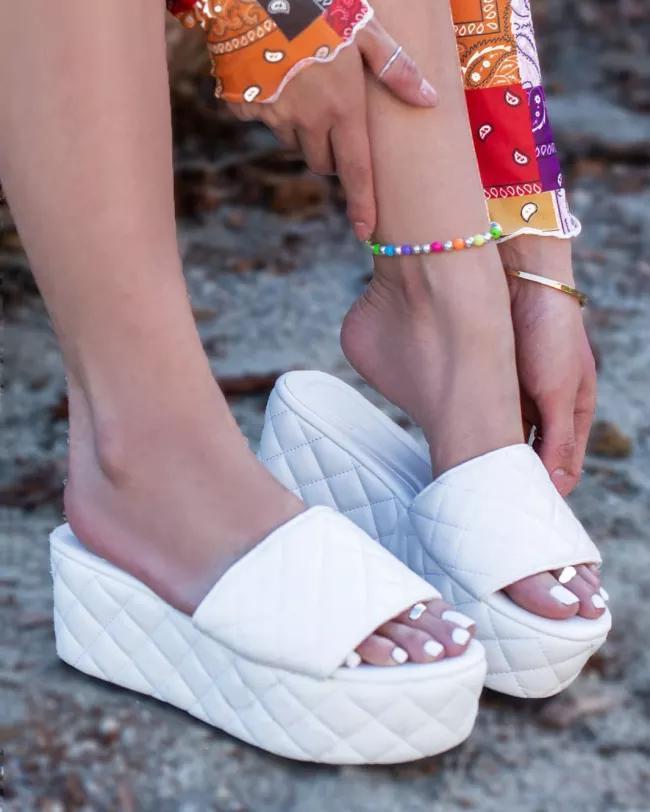 Women Stylish Platform Wedge Quilted Leatherette Slide Sandals