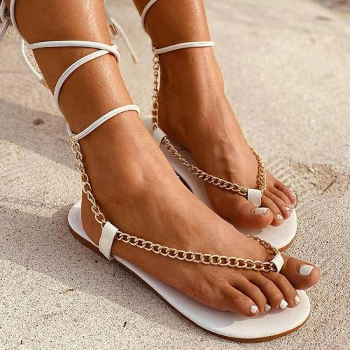 Women Chic Chain Detailed Straps Flip-flops Sandals