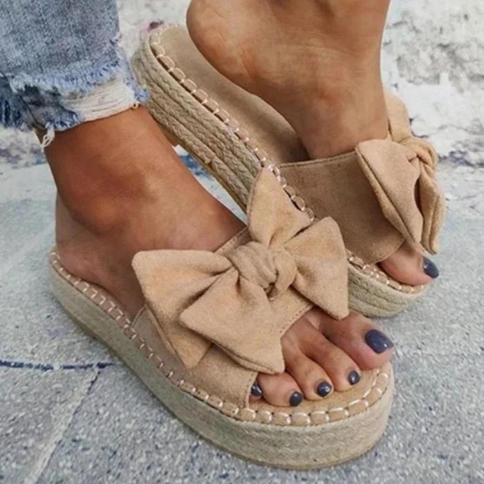 Women Casual Simple Shearling Bowknot Platform Sandals Slippers